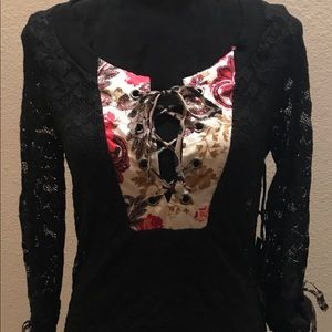 NWT buckle lace top
